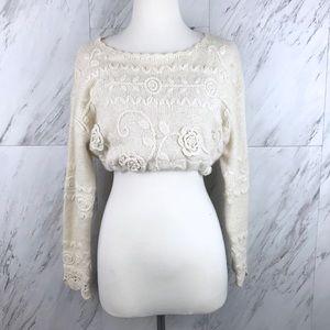 Vintage Silk Rabbit Hair Pearl Cropped Sweater